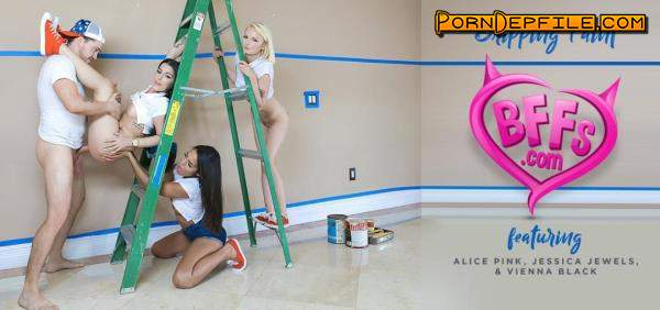BFFS, TeamSkeet: Alice Pink, Jessica Jewels, Vienna Black - Dripping Paint (Foursome, Doggystyle, Facial, Brunette) 1080p