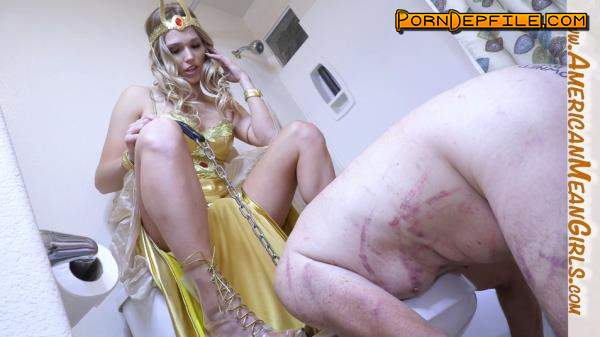 AmericanMeanGirls: Princess Amber - Tongue Fuck My Toilet Clean (FullHD, Blonde, Fetish, Femdom) 1080p
